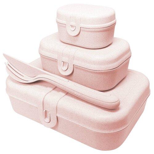 Koziol Набор из 3 ланч-боксов с приборами Pascal Ready Organic, organic pink