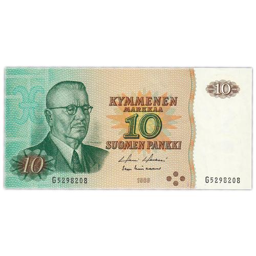 Банкнота Банк Финляндии 10 марок 1980 года