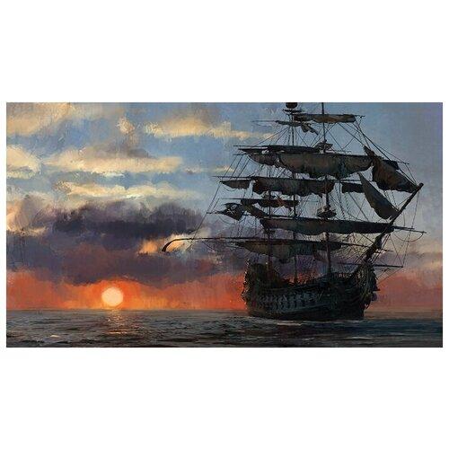 Купить Алмазная вышивка Яркие Грани Пиратский корабль , размер 89х50 см, (356х200 кристаллов), 49 цветов