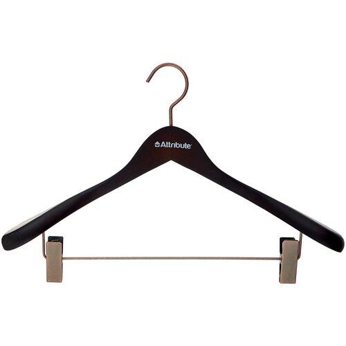 Вешалка Attribute Для верхней одежды с клипсами Prestige коричнево-черный вешалка attribute eva black 45см для верхней одежды металл поролон