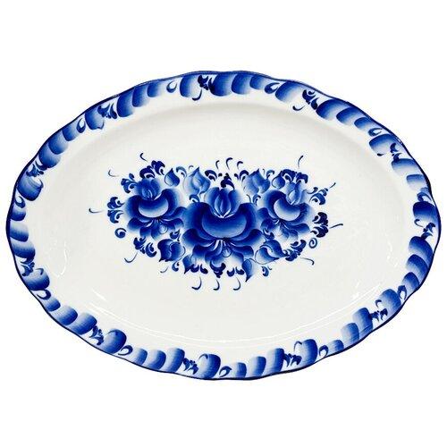 Фото - Блюдо овальное Лаванда малое Гжель ручная роспись блюдо гжель 24 х 13 см