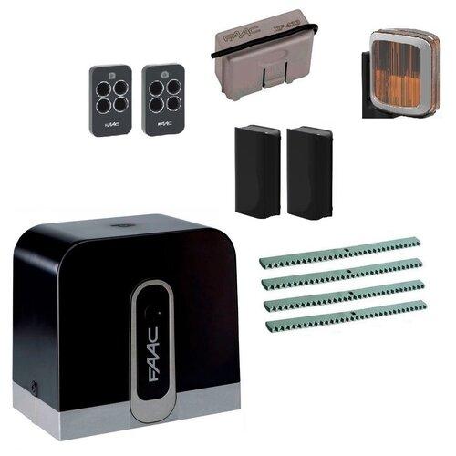 Автоматика для откатных ворот FAAC C720KIT FULL-A4, комплект: привод, радиоприемник, 2 пульта, фотоэлементы, лампа, 4 рейки автоматика для откатных ворот faac c720kit fa4 комплект привод радиоприемник 2 пульта фотоэлементы 4 рейки