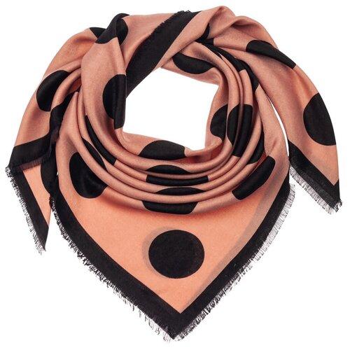 Шелковый платок на шею/Платок шелковый на голову/женский/Шейный шелковый платок/стильный/модный /21kdg1090-9vr розовый,черный/Vittorio Richi/70% модал,15% шерсть,15% шелк/90x90