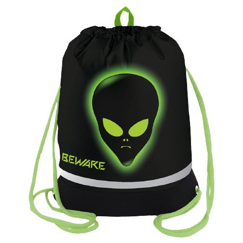 Купить Berlingo Мешок для обуви Alien (MS09447) черный/зеленый, Мешки для обуви и формы