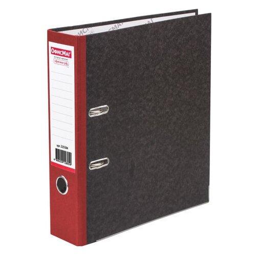 Купить Папка-регистратор ОФИСМАГ, фактура стандарт, с мраморным покрытием, 80 мм, красный корешок, 225584, ОфисМаг, Файлы и папки