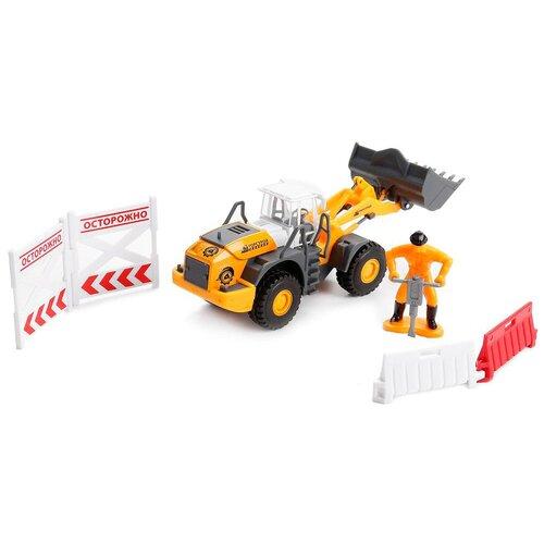 Фото - Бульдозер ТЕХНОПАРК с дорожными знаками (U1408A-4), 12.5 см, оранжевый автомобильный атлас москва с дорожными знаками