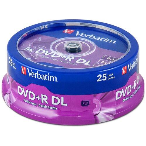 Диск DVD+R DL 8.5Gb Verbatim 8x Double Layer cake, упаковка 25 штук (43757)