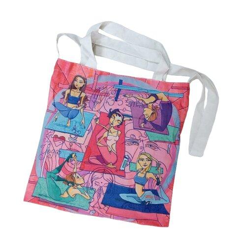 Сумка шопер, полиэстер, хлопок, разноцветный, холщовая эко-сумка Оланж Ассорти
