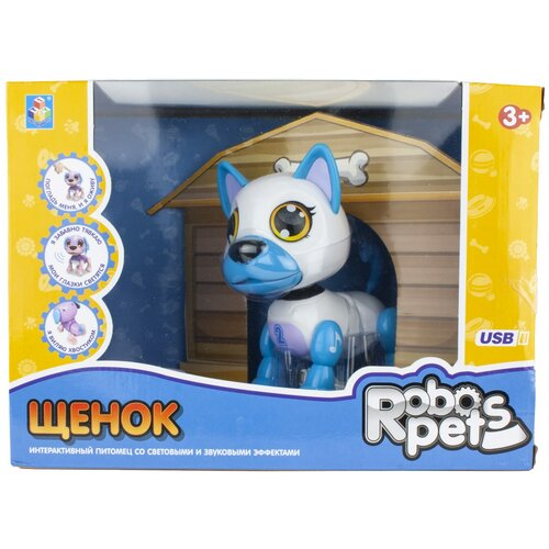 Фото - Робот 1 TOY Robo Pets Щенок Т16800 белый/голубой робот 1 toy robo pets котёнок белый голубой