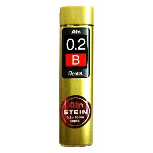 Pentel Грифели для механических карандашей Ain Stein, B, 0.2 мм, 20 шт черный