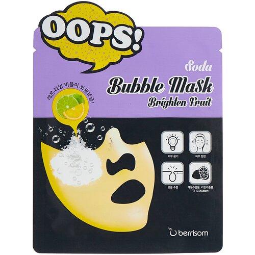 Купить Berrisom Тканевая пузырьковая маска Soda Bubble Mask Brighten Fruit, 18 мл