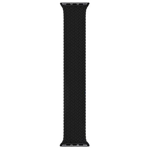 Эластичный нейлоновый ремешок для часов Apple Watch series 1-6 и Эпл Вотч SE 42-44 mm / Тканевый плетеный монобраслет Solo Loop размер M - 145 mm (Черный)