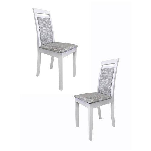 Комплект кухонных стульев (2 шт.), СтолБери, Эдвин, эмаль белая, ткань Атина 13790/1, классический