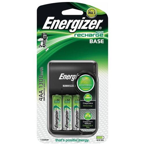 Аккумулятор Ni-Mh 1300 мА·ч Energizer Charger Base EU + 4 NH15/AA 1300mAh, 4 шт.