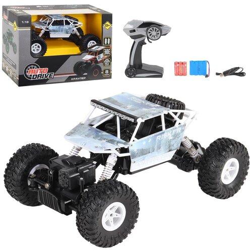 Купить Машинка детская на радиоуправлении Краулер ТМ AUTODRIVE, М 1:18 2.4G, 4WD, с зарядкой, 5 каналов, цвет белый, в/к 32*18*23см, Радиоуправляемые игрушки