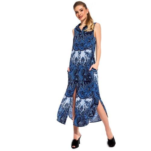 Фото - Платье - туника из вискозы Sunrise (PM France 221) размер 2XL (52), синий платье туника panicale платье туника