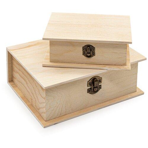 LYE015983 Шкатулки деревянные (сосна/фанера), 2 шт. 14.5*11.5*5см и 19.5*15.5*7см