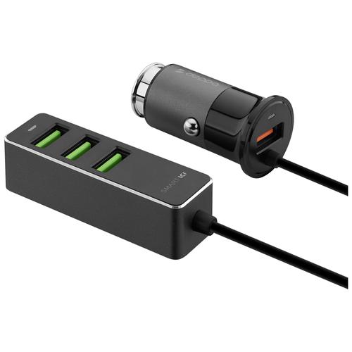Автомобильная зарядка Deppa 1 USB + 3 USB для пассажиров, QC 3.0, 7А, 35 Вт, алюминий