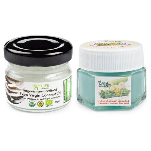 BIO WAY/AGRILIFE Набор: бальзам крем для ног увлажняющий с экстрактом лемонграса и кокосовое масло холодного отжима 25 г/25 мл