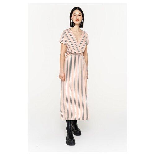 Платье-халат с запахом befree 2021389575 женское Цвет Бежевый бежевый принт65 Полоски р-р 42 XS