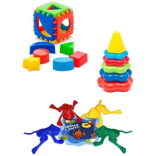 Купить Набор развивающий: Кубик логический малый + Пирамида детская малая + Команда КВА №1 KAROLINA TOYS, Развивающие игрушки
