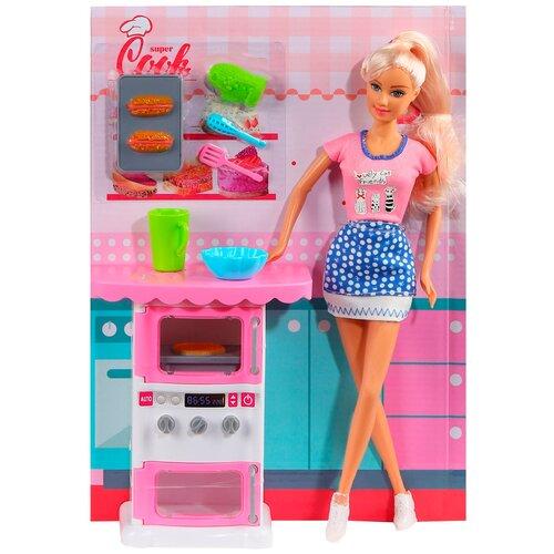 Купить Кукла детская для девочек Defa , Хозяйка , в комплекте кукла, духовка со звуком и 9 аксессуаров, в/к 22*7.5*32см, Куклы и пупсы