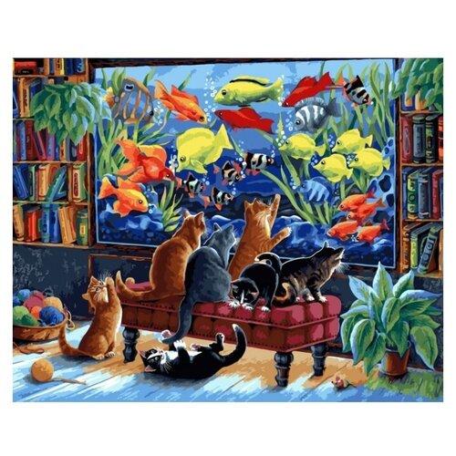 Купить Белоснежка картина по номерам Коты и рыбки 40х50 см (231-AB), Картины по номерам и контурам