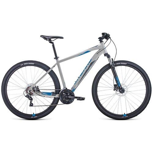 Горный (MTB) велосипед FORWARD Apache 29 3.2 Disc (2021) серый/синий 19 (требует финальной сборки) горный mtb велосипед forward apache 27 5 1 2 s 2021 желтый зеленый 19 требует финальной сборки