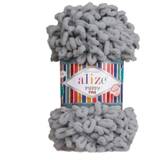 Купить Пряжа для вязания Alize 'Puffy Fine' 100г 14м (100% микрополиэстер) (343 угольно-серый), 5 мотков
