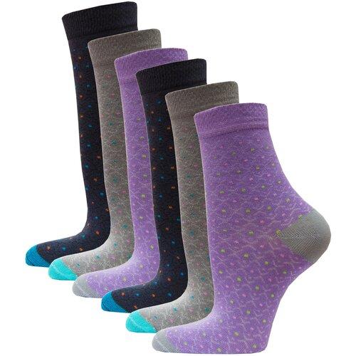 Носки женские в точку HOSIERY 71101 р 23-25 (36-39 размер обуви) серый-сиреневый 6 пар