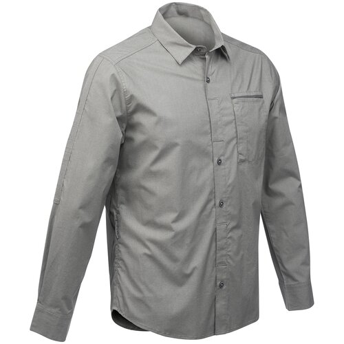 Рубашка модульная для походов и путешествий мужская TRAVEL 500, размер: XXL, цвет: Серый Хаки FORCLAZ Х Декатлон