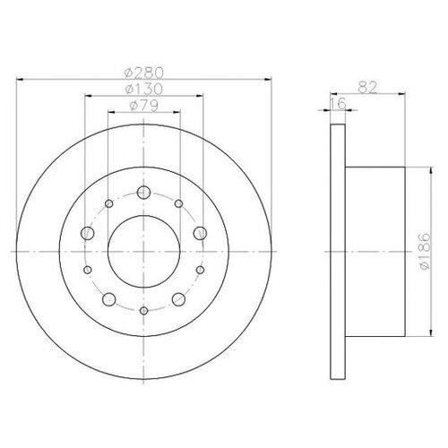 Фото - Тормозной диск Mintex MDC1686 для Citroen JUMPER; Fiat DUCATO; Peugeot BOXER тормозной диск задний miles k010676 280x16 для citroen jumper fiat ducato peugeot boxer