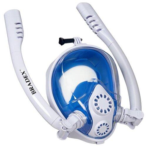 Набор для плавания BRADEX полнолицевой с двумя трубками, размер S/M белый/синий