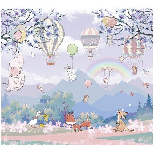 Фотообои флизелиновые Топ Фотообои Зверюшки и воздушные шары в нежных тонах 300х270 (ШхВ) сиреневый/светло-синий/серо-голубой/светло-розовый/белый