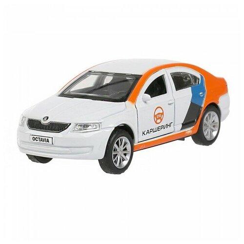 Легковой автомобиль ТЕХНОПАРК Skoda Octavia каршеринг (OCTAVIA-12DEL-WH), 12 см, белый/оранжевый легковой автомобиль технопарк renault kaptur 1 36 12 см оранжевый