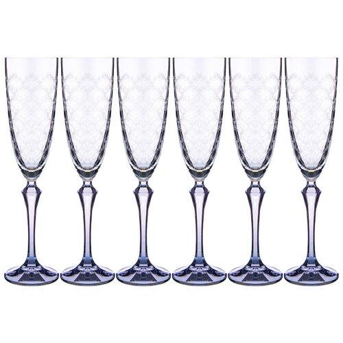 Набор бокалов для шампанского elisabeth blue smoke из 6 шт 200 мл Bohemia Crystal (674-744)