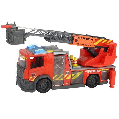 Фото - Пожарный автомобиль Dickie Toys Scania (3716017), 35 см, красный гидроцикл dickie toys пожарный сэм джуно с фигуркой и аксессуарами 9251662 красный желтый