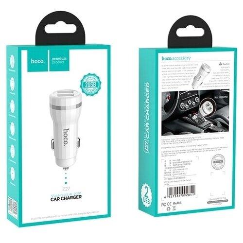 Автомобильный адаптер питания Hoco Z27 White зарядка 2.4А 2 USB-порта + кабель microUSB, белый