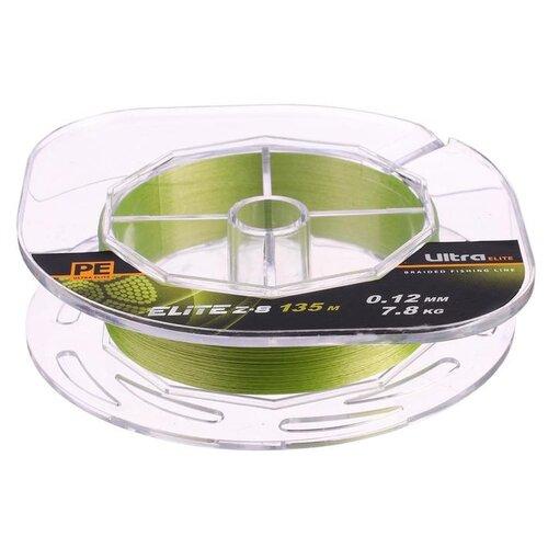 Леска плетёная Aqua Pe Ultra Elite Z-8, d=0,12 мм, 135 м, нагрузка 7,8 кг 2173938 по цене 418
