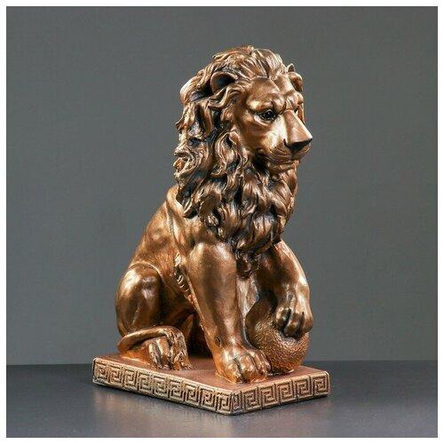 Фигура Лев сидя с шаром бронза 29х18х45см 3967682 фигура лев сидя с шаром бронза 29х18х45см
