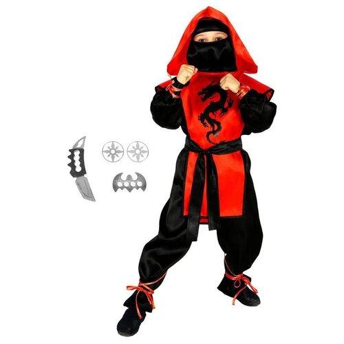 Купить Карнавальный костюм Страна Карнавалия Ниндзя: черный дракон с оружием, размер 36, рост 140 см, цвет красный, Карнавальные костюмы