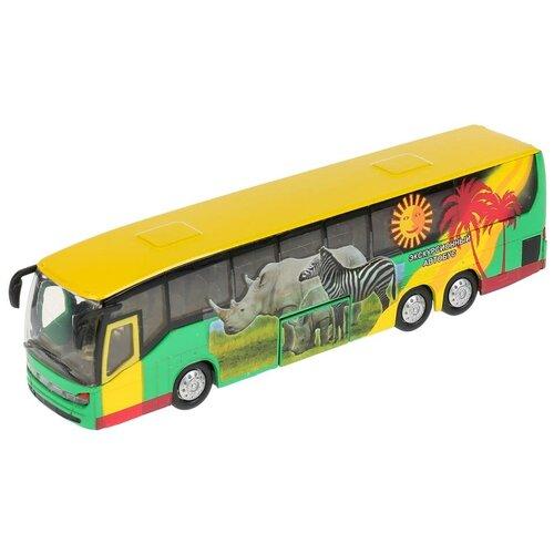 Фото - Автобус ТЕХНОПАРК экскурсионный (CT10-025-1) 1:43, 16 см, желтый/зеленый автобус технопарк рейсовый sb 16 88 blc 7 5 см желтый