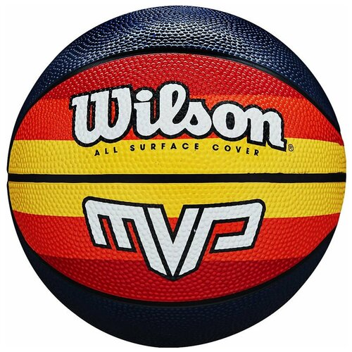 Мяч баскетбольный WILSON MVP Retro, арт.WTB9016XB07, р.7, резина, бутил.камера, красно-желто-черный