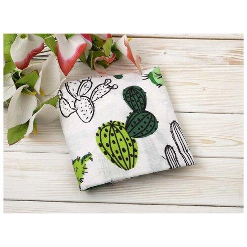 Купить Amarobaby Простыня на резинке Кактусы 125 х 75 х 12 см белый, Постельное белье и комплекты