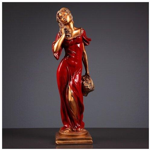 Фигура Девушка с корзиной бронза/красный 14х14х55см 3387057 фигура с кашпо девушка с корзиной бронза цвет красный 64см