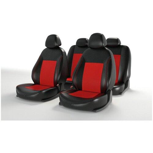 Универсальные чехлы на автомобильные сиденья CarFashion ATOM LEATHER черный/красный/красный