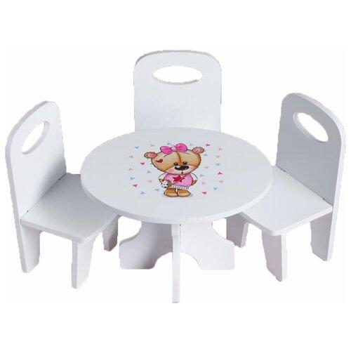 Фото - Коняша Набор стол и стулья Мишутки Кокетка (МН05К) белый кукольные домики и мебель коняша набор стол и стулья мишутки романтик