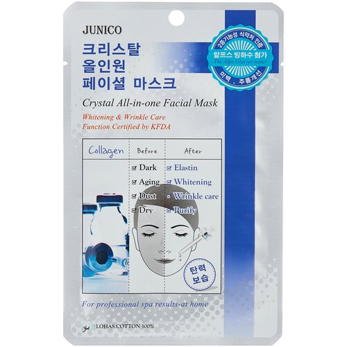 Купить Junico тканевая маска Junico Crystal All-in-one с коллагеном, 25 г