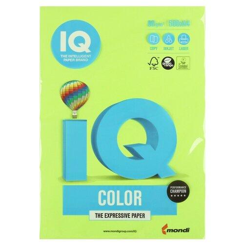 Фото - Бумага цветная А4 500л IQ COLOR, 80г/м2, зеленый неон, NEOGN 1520947 бумага цветная а4 500л iq color 80г м2 желтый zg34 1520958