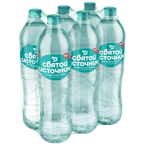 Вода питьевая Святой Источник Активные минералы газированная, ПЭТ, 6 шт. по 1.5 л